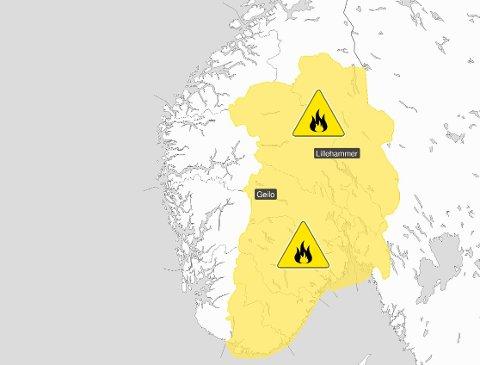 FORSIKTIG MED ÅPEN ILD: Økende skogbrannfare østafjells helt til det kommer nedbør av større betydning.