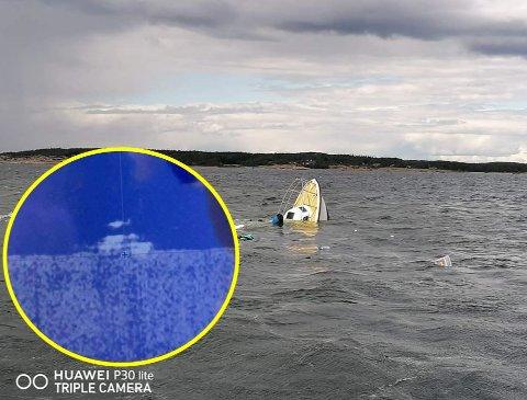 HAVETS BUNN: Torsdag sank denne sjarken på dramatisk vis utenfor Hvaler. Sonarbilde tatt utenfor Lauer i helgen viser sjarken liggende på 41 meters dyp (blått bilde).