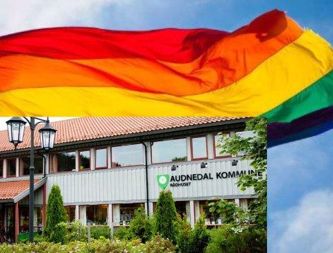FLAGG: For første gang skal regnbueflagget heises utenfor rådhuset på Konsmo. Det skjer i forbindelse med Skeive dager på Sørlandet i august.