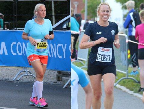 Forandring: Bildet til venstre er av Kamilla Thoresen under Berlin Maraton i 2014. Da hadde hun løpt i ett år. Til høyre er hun på Fornebuløpet tidligere i år. Løpingen er blitt en livsstil for 43-åringen.