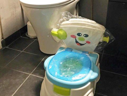 LITE TOALETT: Solrun Liljedal har ikke bestilt det lille toalettet selv. Trolig har noen forsøkt å spøke med henne, og hun har flere mistenkte. Foto: Privat