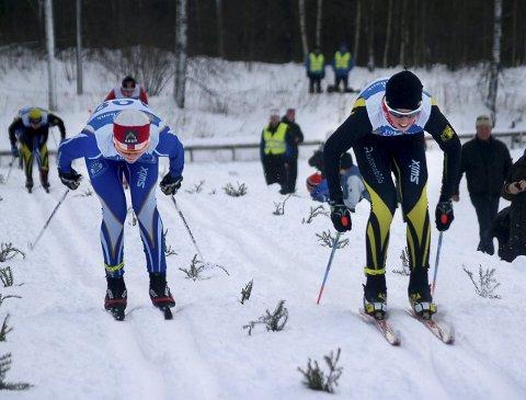 Harde dueller: Det blir sikkert like mange harde dueller i skisprinten på Biri lørdag som det var i fjor vinter. Arkivbilde