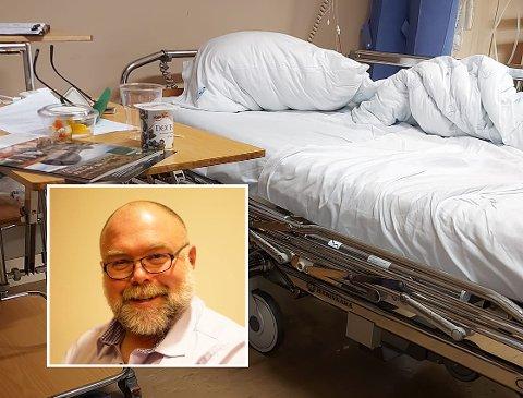 PLUTSELIG SYK: Lars Rem la tirsdag ut et bilde av en sykeseng og skrev på Facebook at han hadde fått et lite hjerneslag.