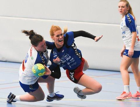 Sju mål: Gina Heggheim Larsen spilt en meget god kamp og scoret sju mål mot Aker i Bjørnholthallen onsdag kveld.