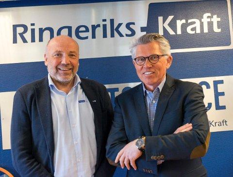 Administrerende direktør Ole Sunnset og styreleder Per Roskifte i Ringerikskraft er igjen interessert i å kjøpe andre kraftselskaper.