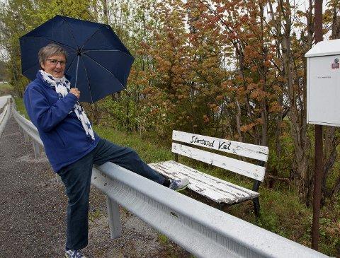 HINDRING: Turid Lie synes Vegvesenet har valgt en rar løsning med autovern som sperrer for postkasser, benk og rutetabellen til Brakar.