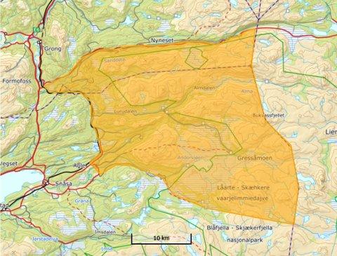 Område: Tillatelsen gjelder innenfor dette avgrensede området i Snåsa og Grong.