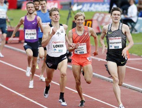 KLARTE KRAVET: Snorre Holtan Løken var knallsterk under Bislett Games i går og perset med hele fire sekunder på 1500 meter. Det sikret han også en EM-billett. foto: vidar ruud, ntb/scanpix