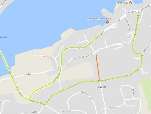 Arbeidet i Wessels gate er den femte av åtte «etapper» med arbeid som gjennomføres på Innlandet. Mulig atkomst for kjøretøy er markert med grønn linje, omkjøringen er skiltet.