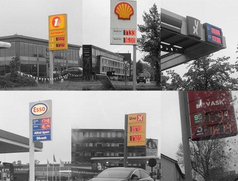 17-TALLET: Skulle du tanke bensin i Tønsberg onsdag ettermiddag var dette prisene du ble møtt med.