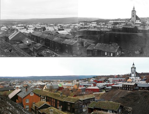 1903 og 2006: Utsikten over bergstaden fra Slagghaugene er like fascinerende i 2006 som i 1903. De fleste hus er gjenkjennelige, og den største forskjellen i naturen, er trærne som har vokst opp bak Røros kirke.