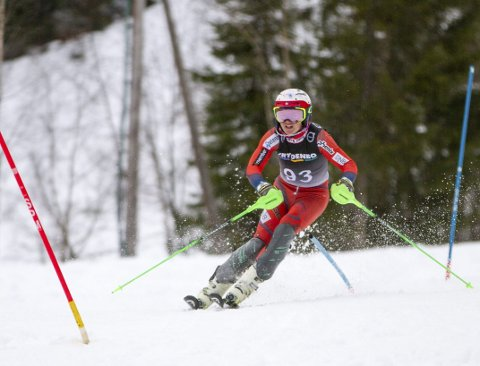 Hans Grahl-Madsen vant storslalåm i Tertnesrennet 2019 foran klubbkamerat Arne Rasmussen. FOTO: Bernt-Erik Haaland