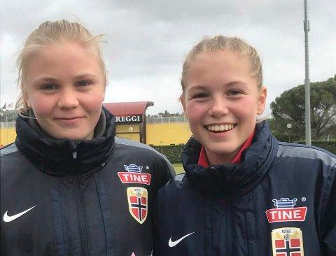 Full pott: Hanne Larsen og Lotte Fikseth Fossem kan smile over å reise hjem med full pott etter å ha møtt Italia over to kamper denne uken.