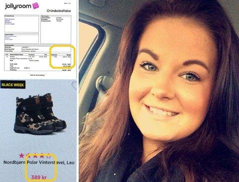 PRISHOPP PÅ SALG: Vinterstøvlene som kostet 239 kroner for et par uker siden, selges plutselig til 389 kroner når det er Black Week i nettbutikken Jollyroom. - Villedende, synes Sofie Alexandra Kitterød.