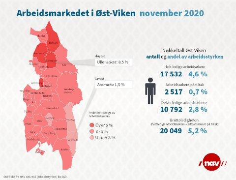 ARBEIDSLEDIGHETEN: Dette kartet viser hvor arbeidsledigheten er størst i vår NAV-region Øst-Viken. Aremark kommer aller best ut, og Halden er såvidt bedre enn snittet i regionen.