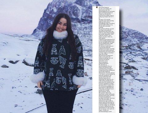 MOTSVAR: Katrine Boel Gregussen har fått en rekke positive tilbakemeldinger etter at hun tok til motmæle om påstanden om at hun var en «næpe, uten arbeidserfaring».