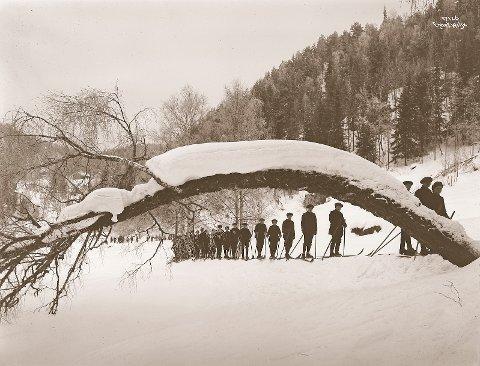 Elever fra Vålerengen skole på vei inn til Sarabråten i 1915.