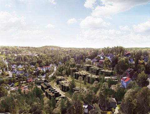 MUNKERUDGRENDA: Skissen viser boligprosjektet fra nord. Helt til høyre i skissen skimtes Nordstrandveien. Slireveien går fra Nordstrandveien og bak de planlagte nye boligene. Til venstre sees Frostveien og Munkerudkleiva.