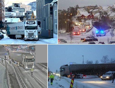 GLATT: En liten knippe trailere på glatte i og rundt Tromsø fra de to siste vintrene.  I fjor stengte politiet øya mens det sto på som verst. Det kommer de til å gjøre i år også.