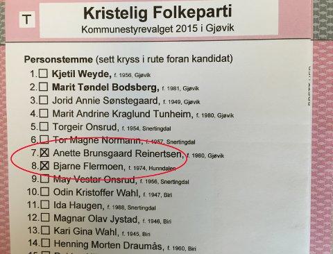 Gjøvik Kristelig Folkepartis liste til kommunevalget 2015. Her vises to personstemmer til politikere på sjuende og åttende plass på lista, som kan føre dem framover i køen når plassene i kommunestyret skal deles ut. ILLUSTRASJON