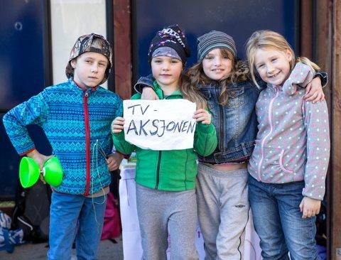Fra venstre: Aron Drage (10), Marte Ingeborg Haltli (6), Frida Helene Haltli (8) og Ariana Drage (8)