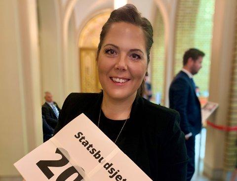 FORNØYD: Lene Westgaard-Halle sier hun er optimist i forhold til ny jernbane til Larvik, selv om ikke Larvik ble nevnt i årets forslag til statsbudsjett.