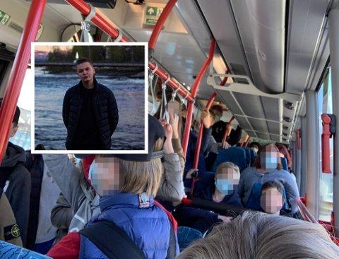 FLERE MÅTTE STÅ: Christoffer Limås (innfelt) synes smittevernet ble dårlig ivaretatt på bussen hjem fra skolen onsdag.