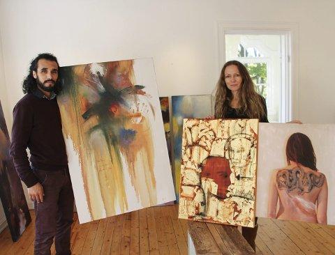 Utstilling: Ali Hamadi og Nina Dreyer Henjum gjør klar til utstilling i galleri Midtstuen. Begge foto: Beate Sloreby