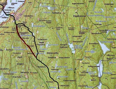 Pilegrimsleden blir lagt om i Hole. Nå får pilegrimene lov til å ta den rødmerkede ruta på kartet, mens de tidligere har fulgt den svarte linjen.