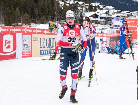 Eirik Sverdrup Augdal kom til slutt fram til start i Seefeld. Han gikk seg inn til en flott 20. plass i verdenscuprennet. Foto: Terje Pedersen / NTB scanpix