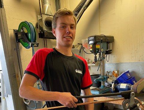 LÆRLING: Markus Grefslie (20) fra Mysen skal snart ta svenneprøven foran en fullstappet sal.
