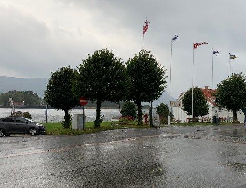Det river godt i flaggene i sentrum torsdag morgen.