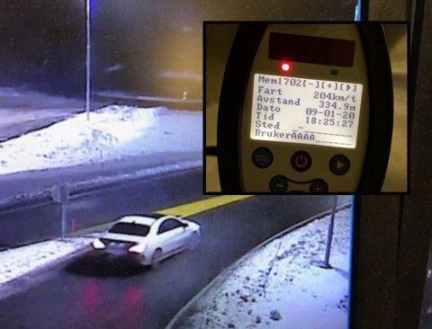 KOM SEG UNNA: Før snittmålingen kom i gang ble denne bilføreren målt til 204 km/t inne i tunnelen. Det er fremdeles flere som kjører for fort, opplyser politiet.