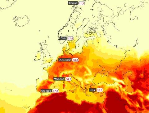 Det har vært svært hett sørover i Europa de siste dagene, mens Norge har sluppet rimelig uberørt fra hetebølgen.
