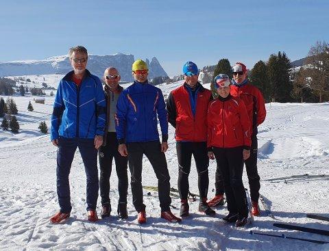 GIKK MARCIALONGA: Fra venstre: Knut Myren, Geir Enersen, Tom Johansen, Roar Øygarden, Karin Eskeland og Leif Markseth deltok alle på langløpet Marcialonga i Italia forrige helg.