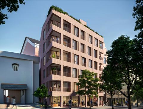STUDENTBOLIGER: Den nye blokka med 15 studenthybler vil få Kristensamfunnets kirke som nærmeste nabo (t.v). Bak ligger en rosa bygård, som i dag er leilighetshotell.