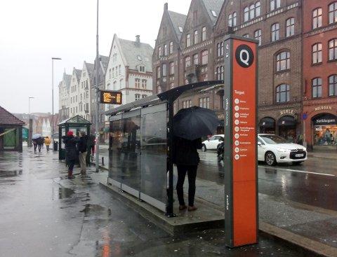 – Jegstusset over de nye skurene. Da jeg på fredag gikk gjennom regnet, fant jeg ut at tålmodigheten måtte ta slutt. En passasjerer hadde til og med paraplyen oppslått under taket, så behovet for bedre le ble veldig tydelig, sier Sondre Båtstrand (MDG).
