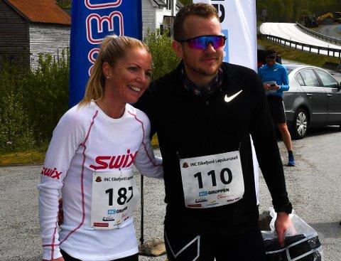 Eikefjord halvmaraton 4. mai 2019. Vinnarar av halvmaraton; Mari Liseth Fimreite og Mads Knudsen.