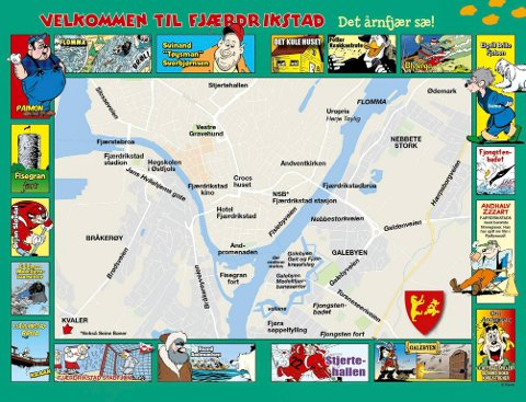 Slik ser hele Fredrikstad-kartet ut i Donald-universet.