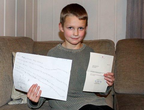 Eget initiativ: Gabriel Åkvik Drevvatn går i tredje klasse på Elsjord skole. Han kom selv med ideen om å spørre Kongen om hjelp til å beholde den.