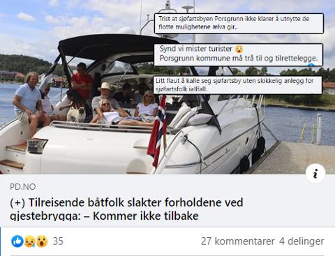 ENGASJERER: Mangelen på fasiliteter for båtturistene skaper furore i sosiale medier.