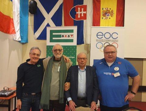 President i EBL Jan Kamras, president i WBF Gianarrigo Rona, grunnlegger av IMSA (International Mind Sports Association) José Damiani og prosjektleder Kurt Ove Thomassen.