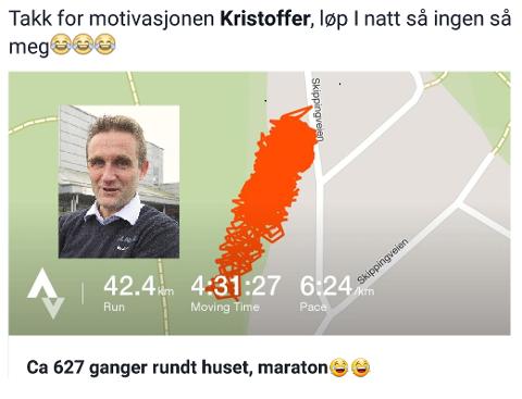 Slik så «trackingen» ut. Etter 627 runder rundt huset, la Øyvind Haug ut dette  «løypekartet» på Facebook-siden sin.