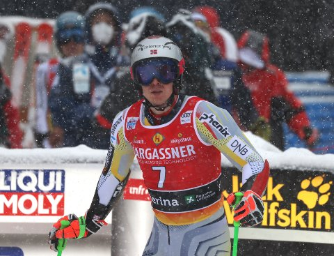 Norway's Henrik Kristoffersen arrives at the finish area during the second run of an alpine ski, World Cup men's giant slalom in Santa Caterina Valfurva, Italy, Saturday, Dec. 5, 2020. (AP Photo/Alessandro Trovati)