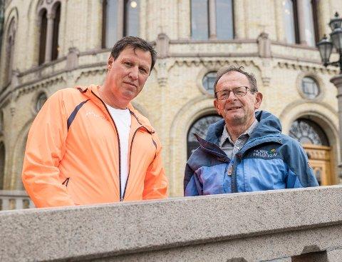 Idrettspresident Tom Tvedt (t.v.) og styreleder i Norsk Friluftsliv, Erling Lae, er samstemte når de sier at vi ikke kan vente lenger før vi virkelig tar tak i problemene med inaktivitet.