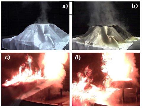 Matolje reantenner etter at brannteppet trekkes vekk etter 17 minutter. I dette tilfellet begynte også teppet å brenne på grunn av matolje som hadde trukket inn i teppet.