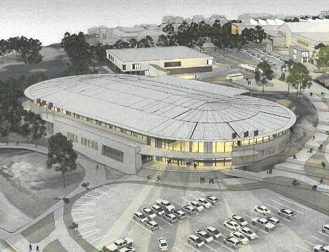 Denne ishallen, med en 250 meters isbane for hurtigløp (normal lengde er 400 meter), curlingbaner og en potensiell liten ishockeybane i midten kan bygges om halvannet år, tror Stord idrettslag.