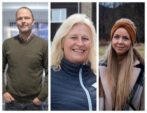 I BRANSJEN: Finn Ove Øen i Åsen og Øvrelid, Bodil Kidøy Lunde i Gravdal Bustadprosjekt og Camilla Kaland Olset i Skudeløken har alle selt til fastpris, men vedgår at kundane kan bu seg på stivare prisar framover.