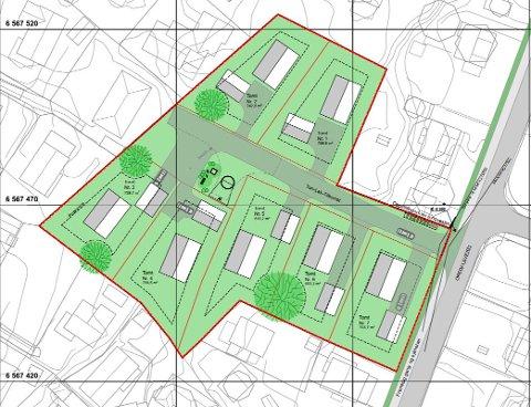 Illustrasjonsplan: Slik har Griff's arkitekt sett for seg at de sju boligene skal plasseres. Tegning: Griff Arktektur AS