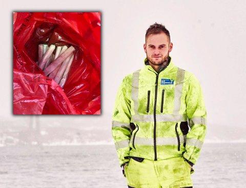 Fjernet dynamitten: Onsdag formiddag fjernet Tommy Jørgensen, daglig leder i Rolf Jørgensen, omlag fem kilo sprengstoff fra HRS-anlegget på Djupvik.